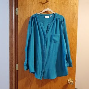 Avenue dark teal button down blouse size 26/28